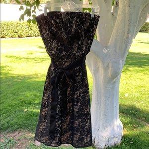 {LOFT}Sz 4 Strapless Black Lace Dress